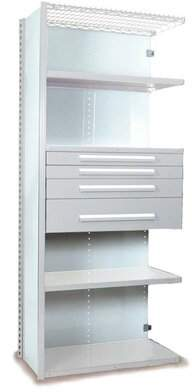 """Equipto V-Grip 84"""" Shelving with Drawers Unit - 4Drw/5Shelf Closed AddOn, 4 drawers - (2) 3"""", 4.5"""" & 7.5"""" H; 200 lb capacity Equipto Finish: Smooth White, Siz"""