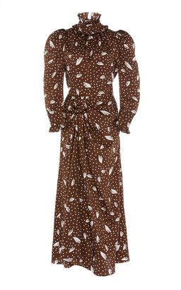 Alessandra Rich Printed Silk-Jacquard Midi Dress