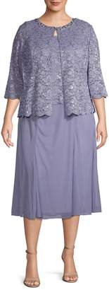Alex Evenings Plus 2-Piece Lace Tea-Length Dress & Jacket Set