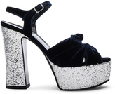 Saint Laurent Candy Velvet & Glitter Platform Sandals in Marine & Platinum
