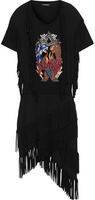 Balmain Asymmetric Fringed Appliqued Jersey Dress