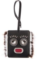 Fendi Mink-Trimmed Open Mouth Luggage Tag
