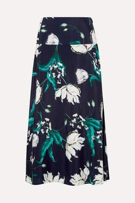 Erdem Elvin Floral-print Crepe Midi Skirt - Navy