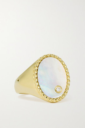 Yvonne Léon 9-karat Gold, Mother-of-pearl And Diamond Signet Ring - 3