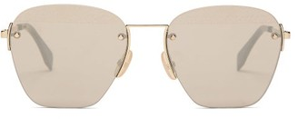 Fendi Metal Aviator Sunglasses - Mens - Gold
