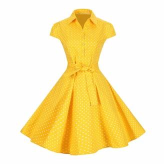 Lolichy Women 1940's 1950's Yellow and White Polka Dot Retro Shirt Dress Cap Sleeve Vintage Swing Dress S