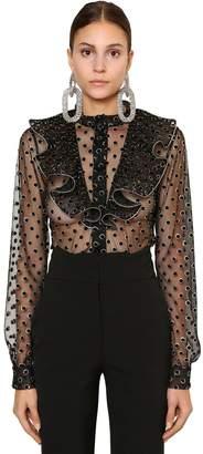 Alberta Ferretti Embellished Sheer Tulle Shirt