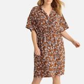 La Redoute Collections Plus Floral Print Wrapover Midi Dress