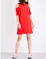 Mo&Co. Slash-shouldered crepe dress