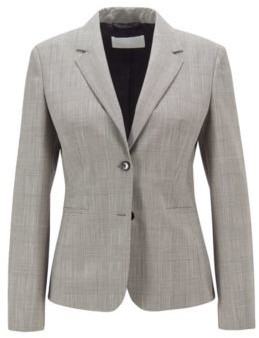HUGO BOSS Regular Fit Jacket In A Checked Stretch Wool Blend - Patterned