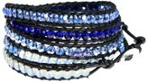 """Beautiful Silver Jewelry 39"""" Sparkling Ocean Blues Faceted Bead Leather Bracelet 5x Wrap in Gift Box"""