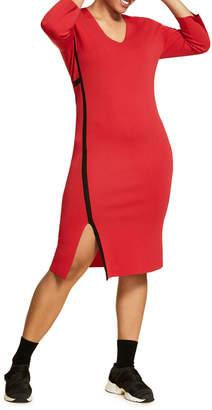 Marina Rinaldi Plus Size V-Neck Long-Sleeve Bodycon Dress w/ Slit