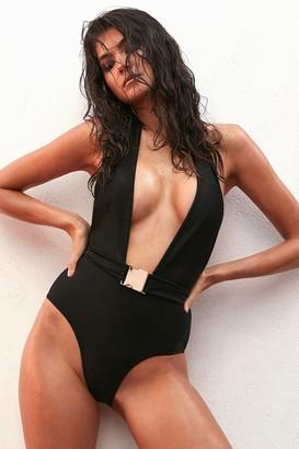 Goddiva Wolf and Whistle Black Plunge Swimsuit