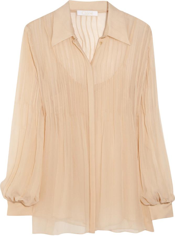 Chloé Pleated silk-mousseline blouse