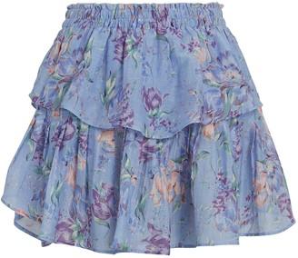 LoveShackFancy Ruffled Floral Mini Skirt