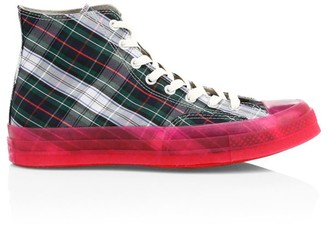 Converse Translucent Midsole Chuck 70 High-Top Plaid Canvas Sneakers