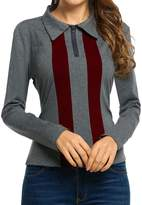 Meaneor Women's V Neck Zipper Long Sleeve Patchwork Casual Polo Shirt Tops Blouse XL