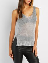Charlotte Russe Metallic Open Knit Tunic