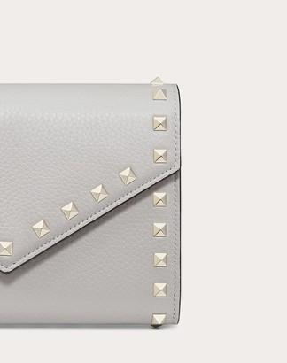Valentino Garavani Rockstud Grainy Calfskin Wallet With Chain Strap Women Rosso Calfskin 100% OneSize