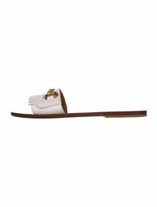 Gucci Horsebit Accent Leather Slides White