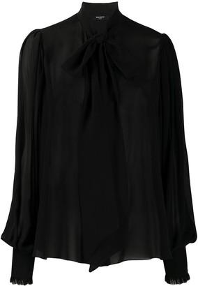 Balmain Pussy Bow Silk Blouse