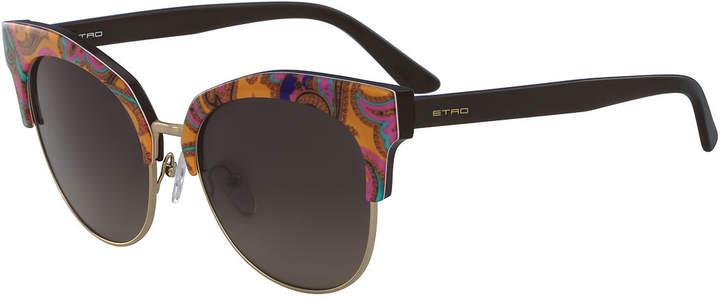 Etro Semi-Rimless Paisley Cat-Eye Sunglasses