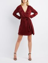 Charlotte Russe Satin Surplice Skater Dress