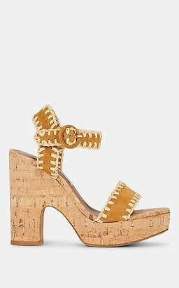 Tabitha Simmons Women's Elena Whip Suede Cork Platform Sandals - Lugksunatr