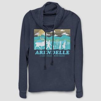 Disney Women's Frozen Arendelle Cowl Neck Long Sleeve Graphic T-Shirt (Juniors') - Navy