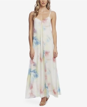 Vince Camuto Women's Sleeveless Invert Pleat Watercolor Maxi Dress