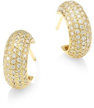 Zoë Chicco 14K Yellow Gold & Diamond Pave Thick Huggie Hoop Earrings
