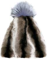 N.Peal striped fur beanie hat