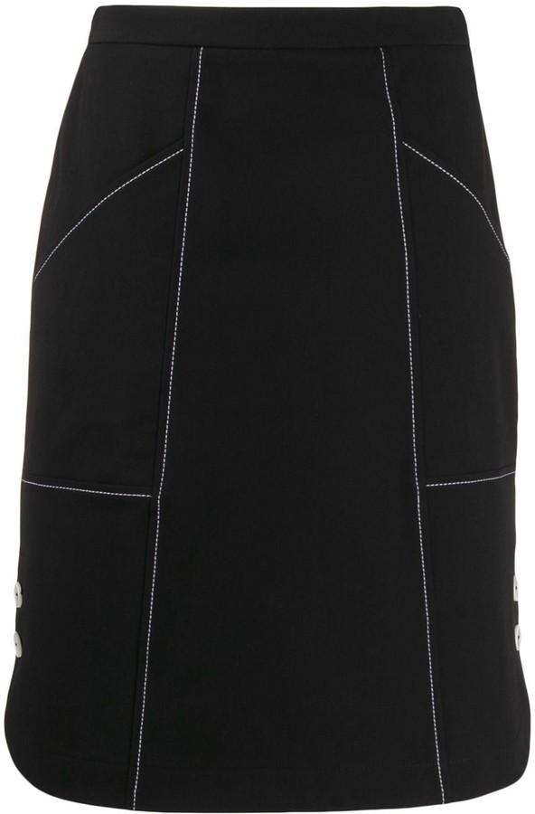 Piazza Sempione side button A-line skirt
