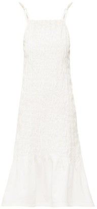 Jil Sander Pintucked Linen-canvas Midi Dress - Ivory