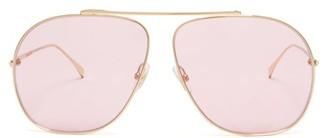 Fendi Ff-logo Aviator Metal Sunglasses - Womens - Pink Gold
