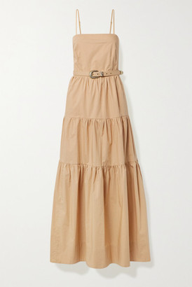 Nicholas Kerala Belted Tiered Cotton-poplin Maxi Dress - Neutral