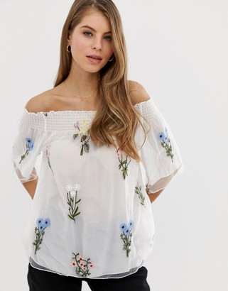 Qed London QED London off shoulder embroidered top in white