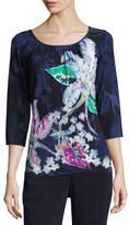 St. John Lilia-Print 3/4-Sleeve Jersey T-Shirt