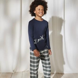 The White Company Reindeer Pyjamas (1-12yrs), Blue, 1-1 1/2yrs