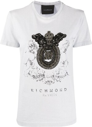 John Richmond embellished crest T-shirt