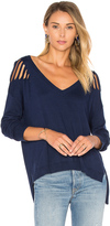 Central Park West Lucerne Distressed V Neck Sweater