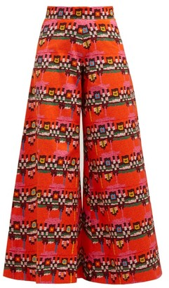 RIANNA + NINA Carnaval Geometric-print Cotton Wide-leg Trousers - Red Multi