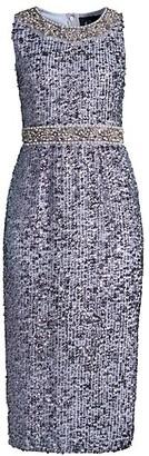 Mac Duggal Plunging Sequin Sheath Dress
