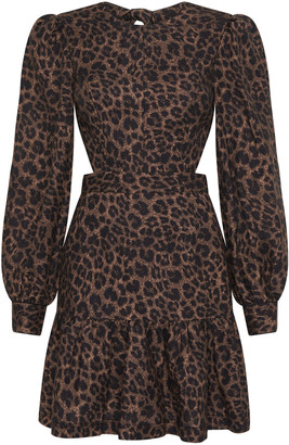 Rebecca Vallance Yasi Cutout Leopard-Print Mini Dress