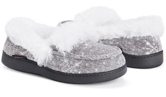 Muk Luks Women's Slippers Silver - Silver & White Jana Moccasin - Women