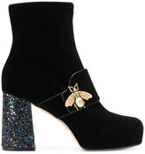 Gucci Bee glitter heel booties