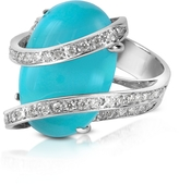 Del Gatto Turquoise Diamond Channel 18K Gold Ring