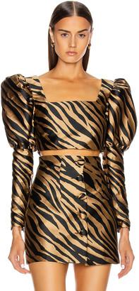 Andamane Eloise Crop Top in Beige Zebra | FWRD