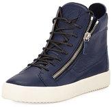 Giuseppe Zanotti Men's Leather High-Top Sneaker, Blue