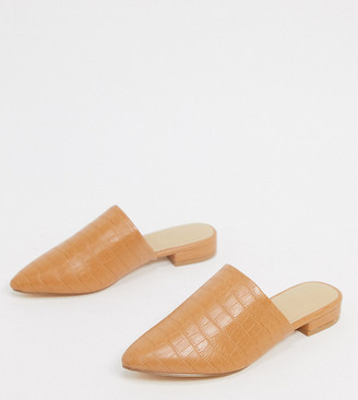 Truffle Collection wide fit flat pointed mules in tan